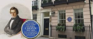 Portrait of Chopin and house in St James's Place with blue plaque