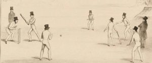 Sketch of 19th century cricket match