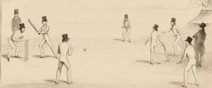 Sketch of 19th century cricket match