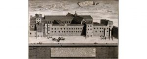The church and hospital of Savoy, London: view from Southwark