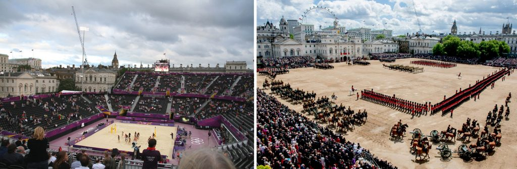 Beach Volleybal London 2012 (left); Trooping the Colour 2013 (right)