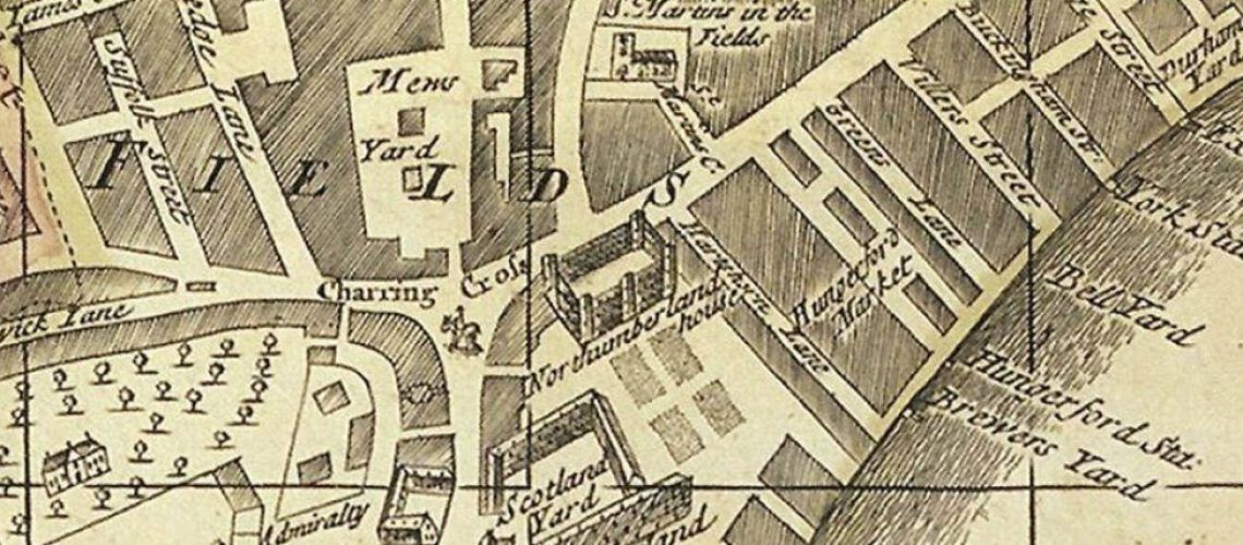 A new and exact plan of the city of London and suburbs thereof, 1724. Publisher: Henry Overton