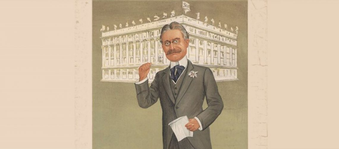 Poster of Harry Gordon Selfridge with store in background